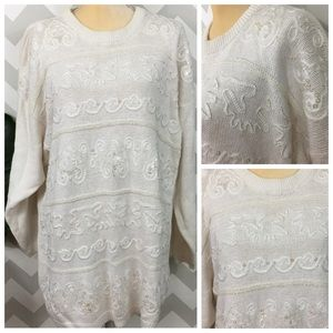 Vintage beaded sequin size 2X holiday sweater